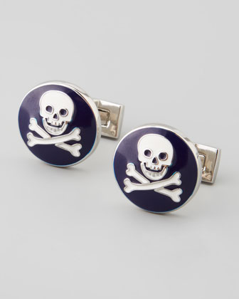 Skull and Crossbones Cufflinks, Blue