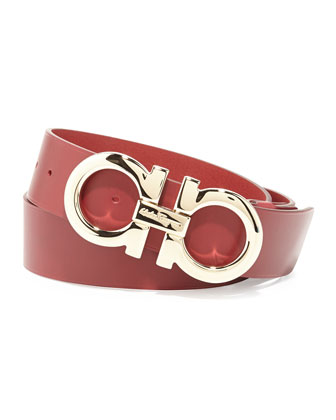 Large Gancini Buckle Belt, Red
