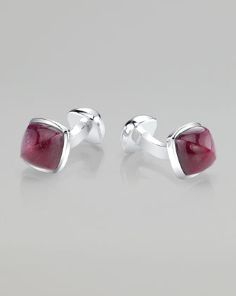 Sugar Loaf-Cut Sterling Silver Ruby Cuff Links