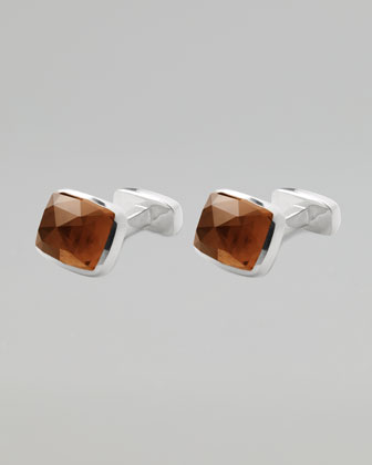Loaf-Rose Cut Quartz Cuff Links, Cognac