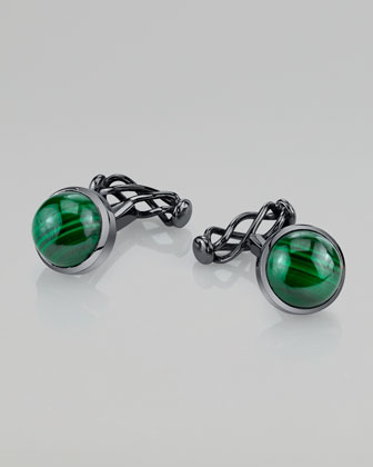 Round Malachite Twist-Back Rhodium Cuff Links