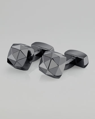 Sugar Loaf Faceted Rhodium Cuff Links