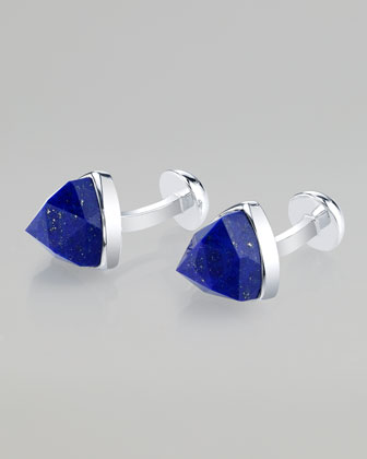 Rose-Cut Lapis Sterling Silver Cuff Links