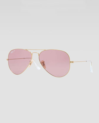 Original Aviator Sunglasses, Gold/Pink