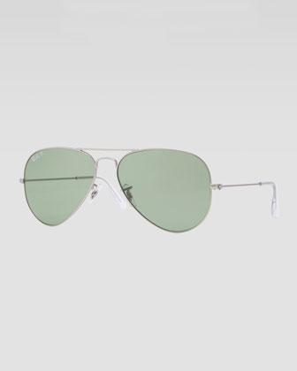 Original Aviator Sunglasses, Silver/Green