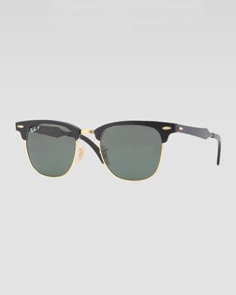 Clubmaster Aluminum Sunglasses, Black/Green