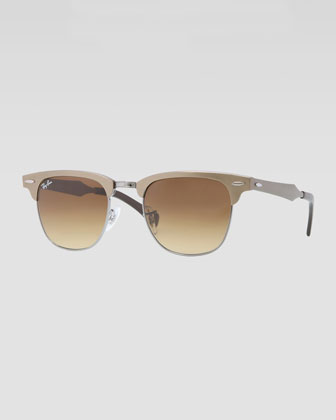 Clubmaster Aluminum Sunglasses, Bronze/Light Brown
