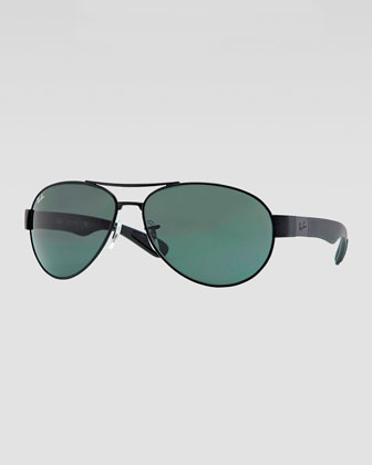 Metal Pilot Sunglasses, Black/Green