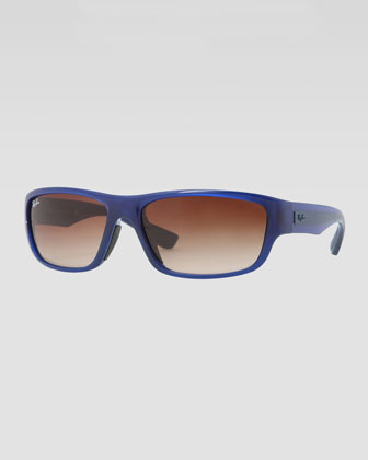 Rectangular Full-Rim Sunglasses, Blue/Brown
