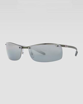 Rectangular Tech Sunglasses, Light Carbon