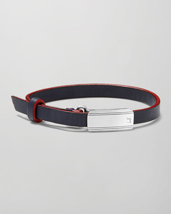 Leather Engine Turned Sterling Silver-Buckle Bracelet, Navy