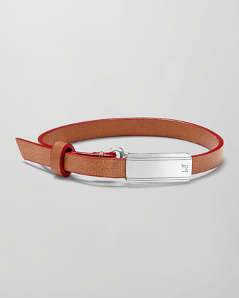 Leather Engine Turned Sterling Silver-Buckle Bracelet, Tan