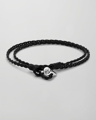 Sterling Silver-Toggle Waxed Cotton Wrap Bracelet, Black