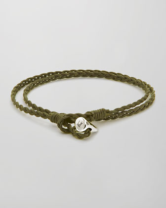 Sterling Silver-Toggle Waxed Cotton Wrap Bracelet, Green