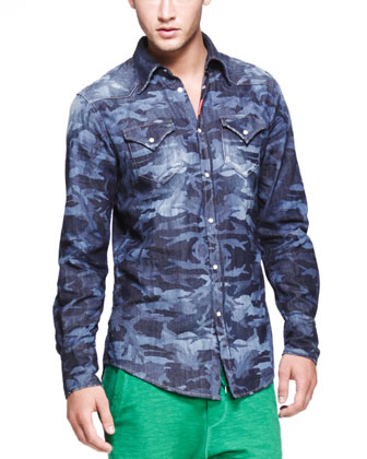 Laser-Print-Camo Denim Shirt, Blue
