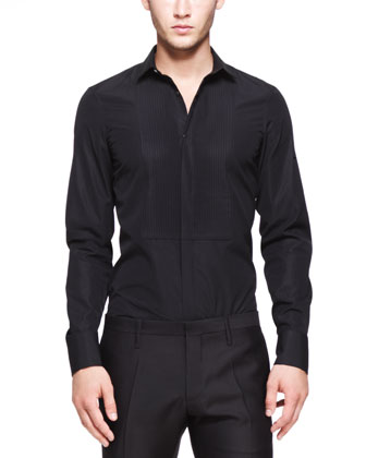 Tuxedo Shirt with Pleated Bib, Black
