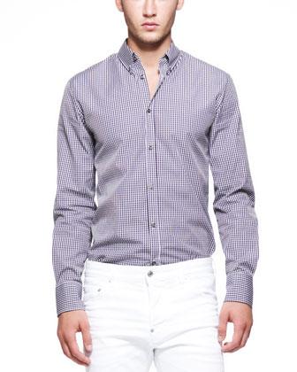 Gingham Long-Sleeve Shirt, Navy/Brown
