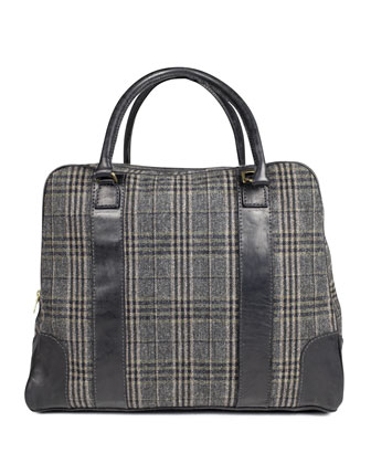 Bahamas Plaid Traveler Bag, Gray