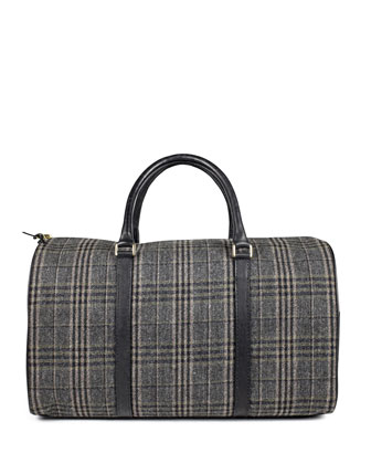 Boston Plaid Duffel Bag, Gray
