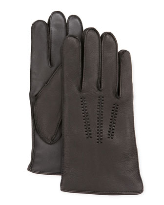 Men's Leather Gloves with Conductive Palm, Black