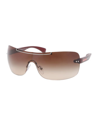 Rectangular-Wrap Sunglasses, Gunmetal/Red