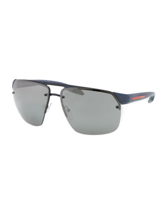 Rimless Mirrored Sunglasses, Royal