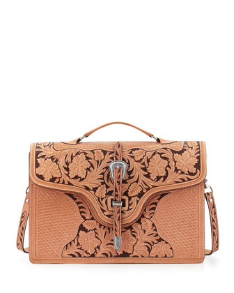 Tooled Saddle Leather Briefcase, Tan