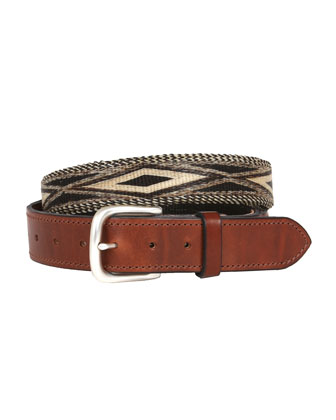 Leather and Hitched Horsehair Belt, Brown