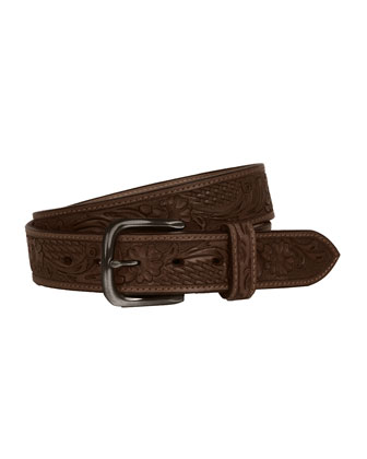 Floral Embossed Belt, Brown