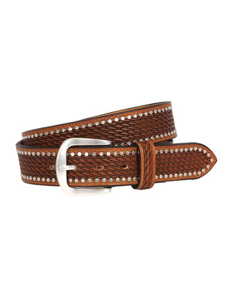 Studded Basketweave Belt, Tan