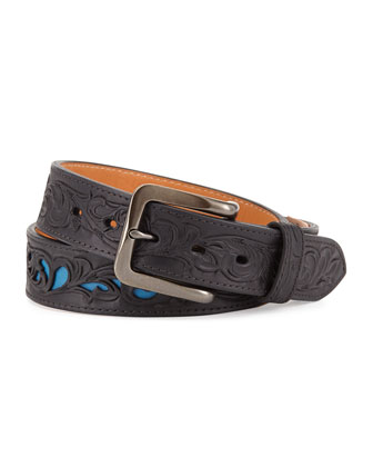 Filigree Leather Belt, Black/Blue