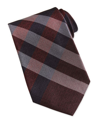 Silk Check Tie, Burgundy