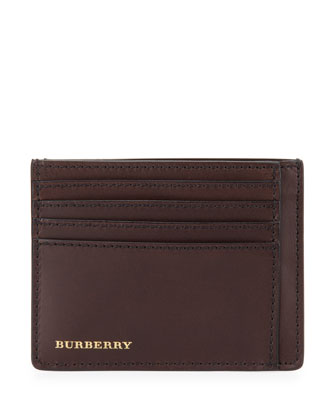 Large Leather Logo Card Case, Dark Brown