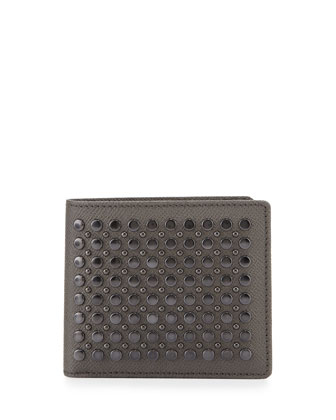 Studded Leather Bi-Fold Wallet, Gray
