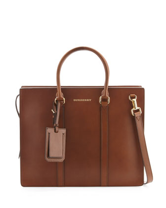 Structured Leather Briefcase, Brown