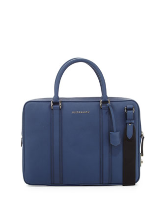 Leather Computer Briefcase with Strap, Blue