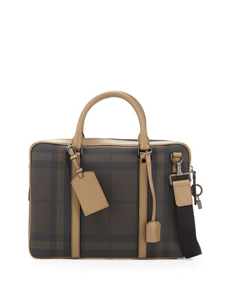 Coated Check Briefcase with Strap, Tan