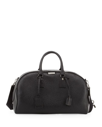 Men's Coarse-Grain Leather Duffel Bag, Black