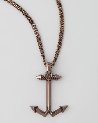 Men's Anchor Necklace, Chocolate