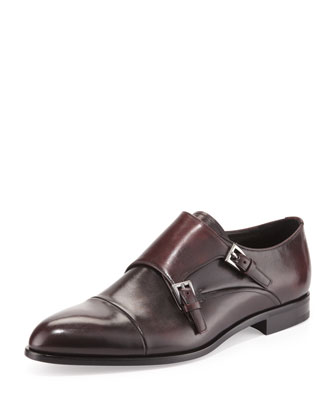 Double-Monk Strap Loafer, Brwon