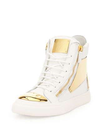 Men's Leather Golden-Plate High-Top, White