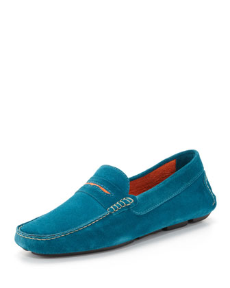 Men's Roadster Suede Driver Loafer, Blue/Orange