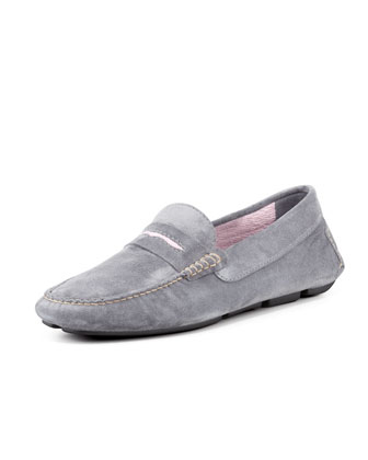 Men's Roadster Suede Driver Loafer, Gray/Pink