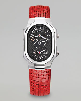 Signature Men's Stainless Steel Watch with Red Woven Strap