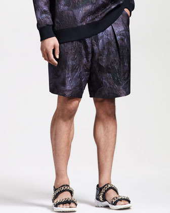 Jacquard Pleated Shorts