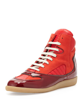 Contoured High-Top Sneaker, Red