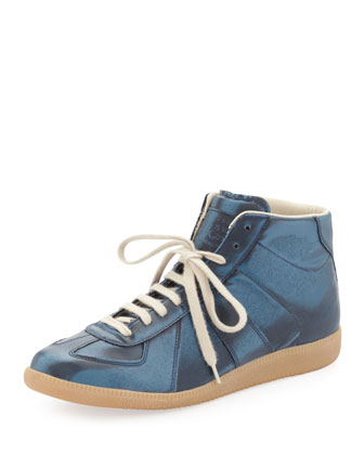Replica Metallic Mid-Top Sneaker, Blue