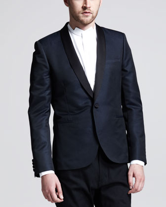 Two-Tone Evening Jacket, Blue/Black