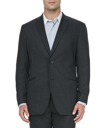 Textured Contrast-Collar Sport Coat, Black