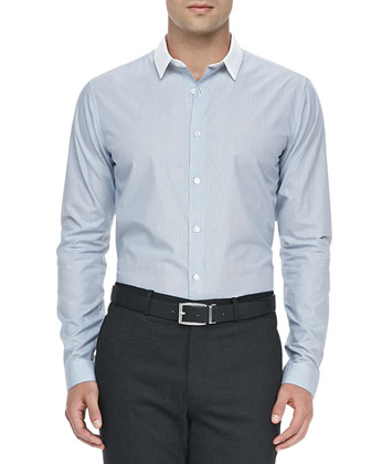 Colorblock-Collar Sport Shirt, Blue